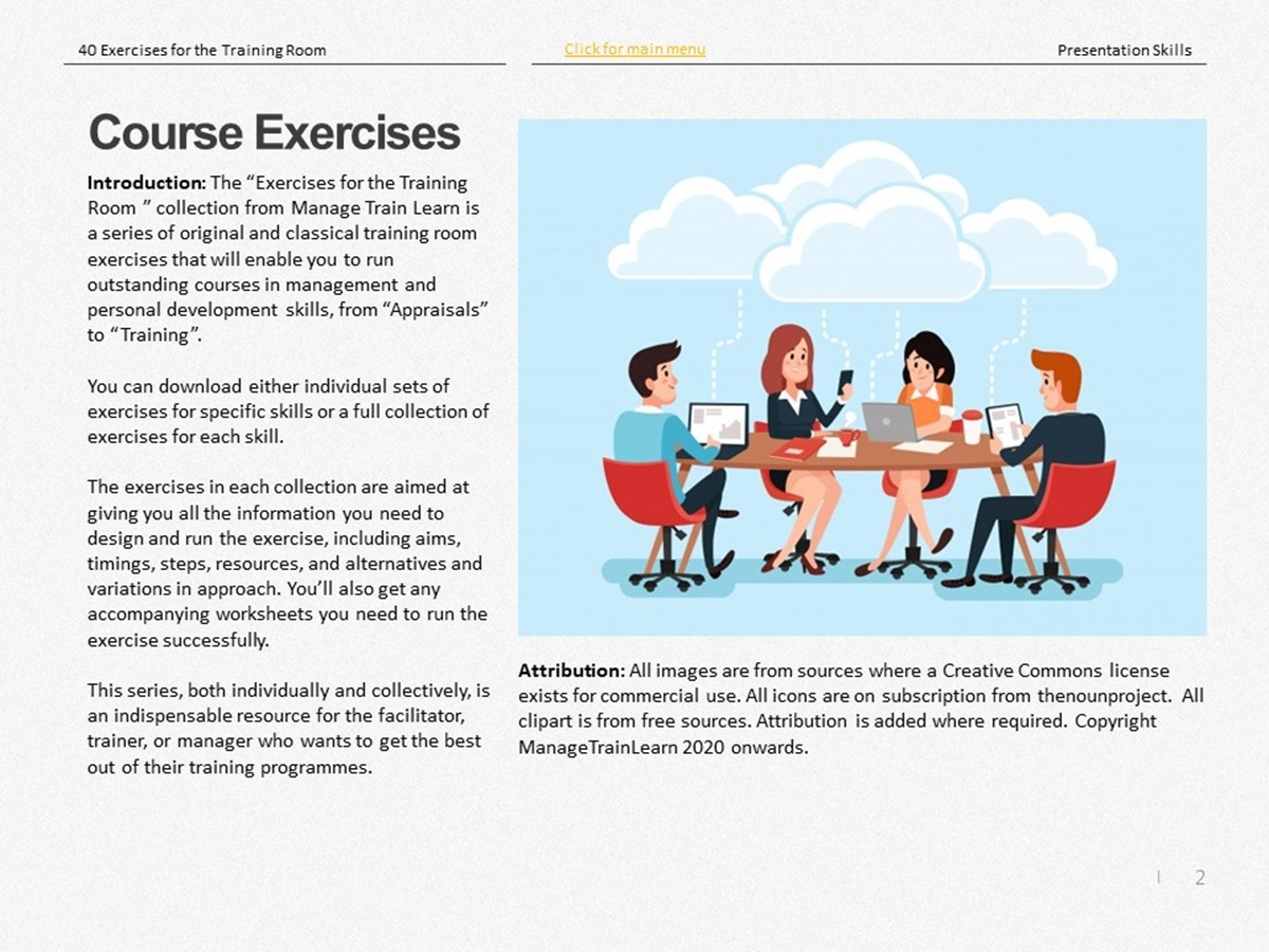 40 Course Exercises: Presentation Skills - Slide 2++