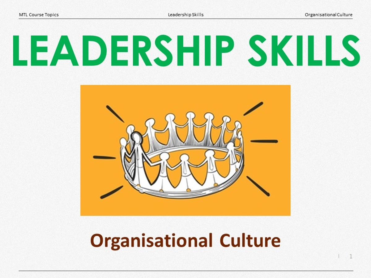 Course Topics: Organisational Culture - Slide 1++