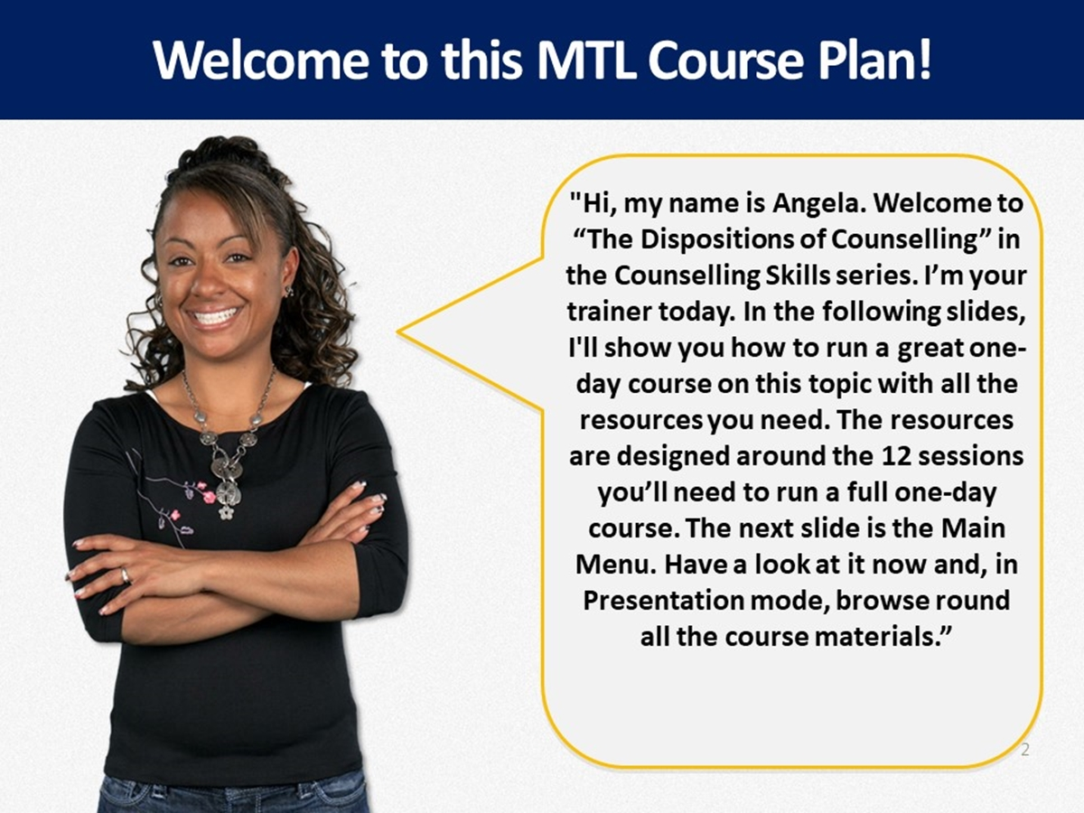 MTL Course Plans: The Dispositions of Counselling - Slide 2++