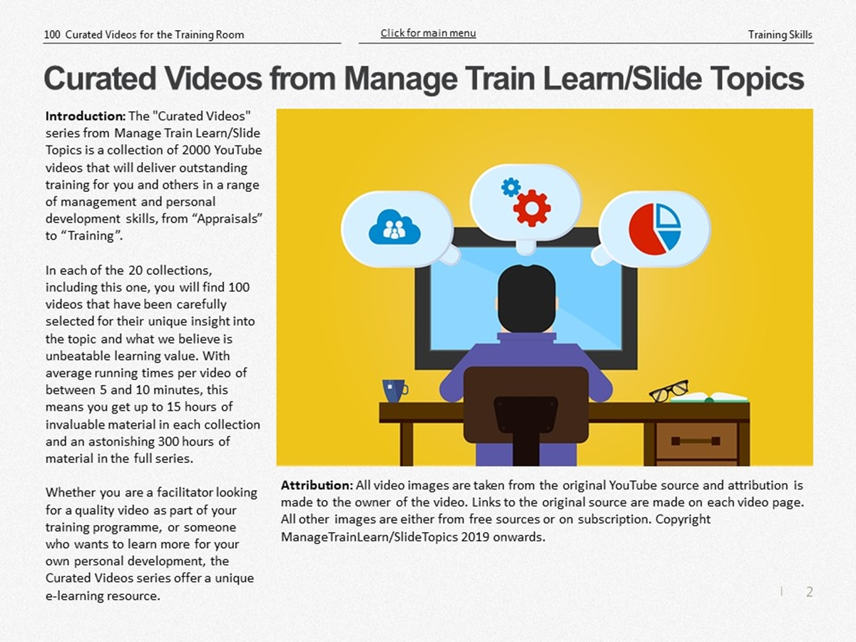 The 100 Curated Videos Series: Training Skills - Slide 2++