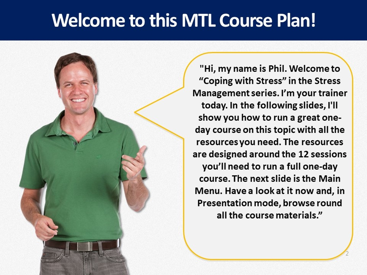MTL Course Plans: Stress Management: 03. Coping with Stress - Slide 2++