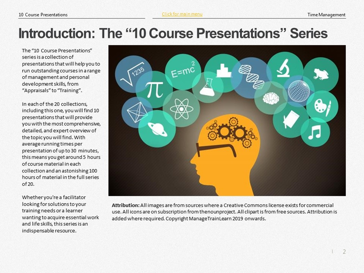 The 10 Course Presentations Series: Time Management - Slide 2++