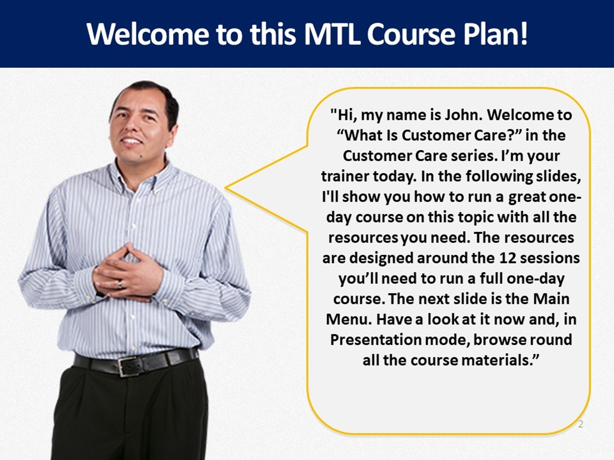 MTL Course Plans: What Is Customer Care? - Slide 2++