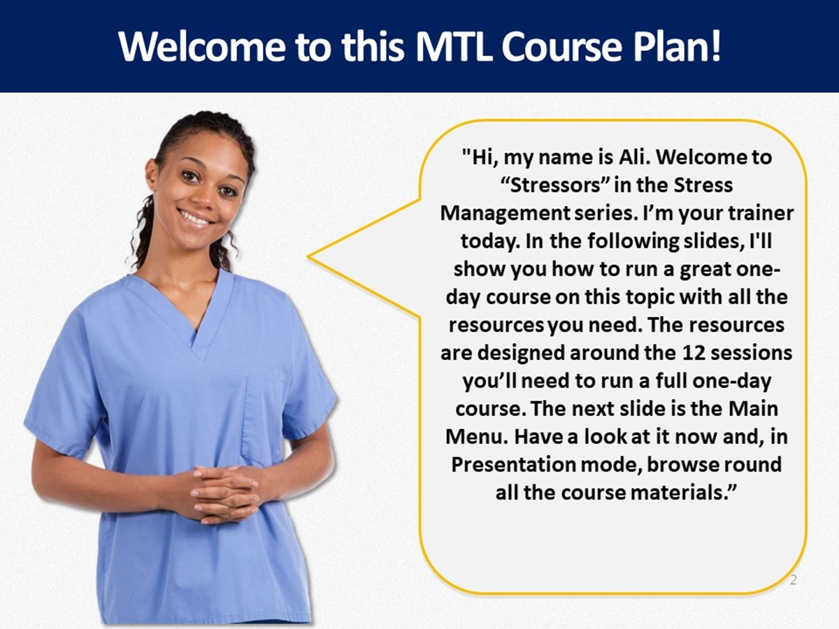 MTL Course Plans: Stress Management: 02. Stressors - Slide 2++