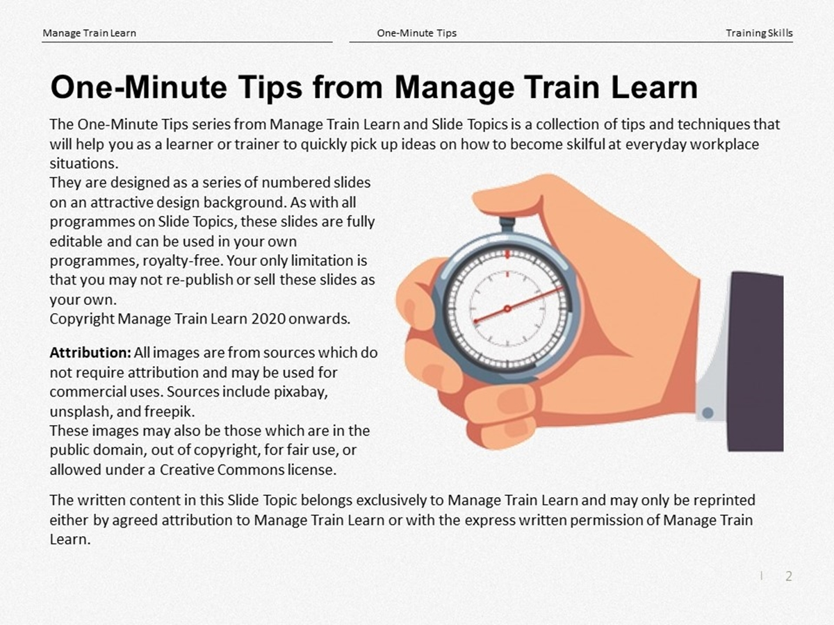 One-Minute Tips: Training Skills - Slide 2++