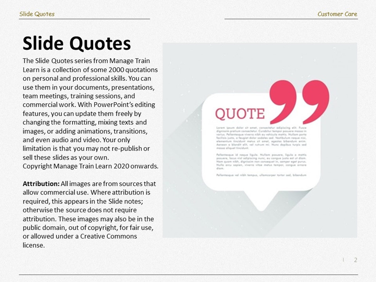 Slide Quotes: Customer Care - Slide 2++