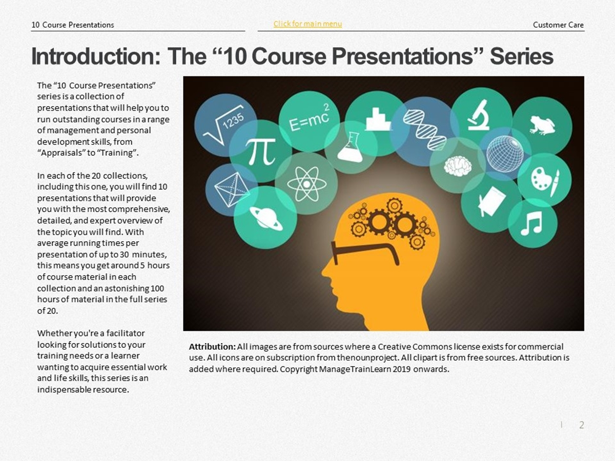 The 10 Course Presentations Series: Customer Care - Slide 2++
